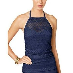 NWT Island Escape Navy Blue Tankini Top